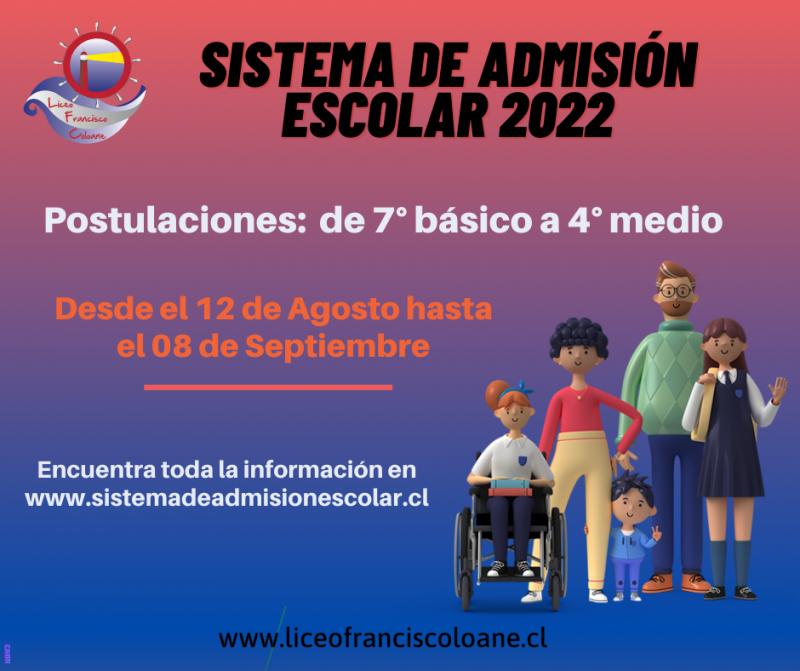 Proceso de admisión 2022